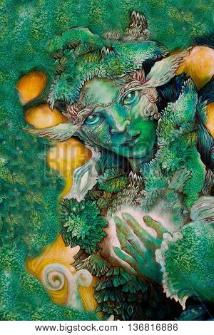 emerald green fairy creature painting with healing energy.