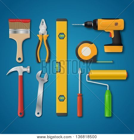 Set of vector realistic tools isolated on a blue background. Electric drill, hammer, pliers, paint roller, screwdriver, spanner, paintbrush, meter, spirit level. Hand tools for home renovation