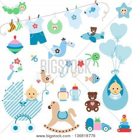 Beautiful set of newborn elements. A set of cute items for newborn baby boy.