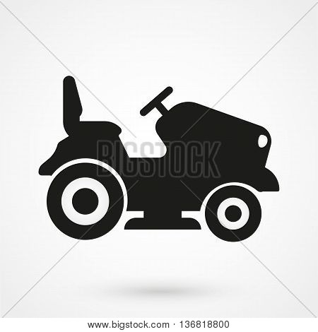 Lawn Tractor Icon On White Background In Flat Style. Simple Vector