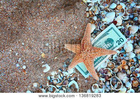 Starfish on twenty dollars over film of seashells and copyspace on sand. Tourism concept, savings for recreation.