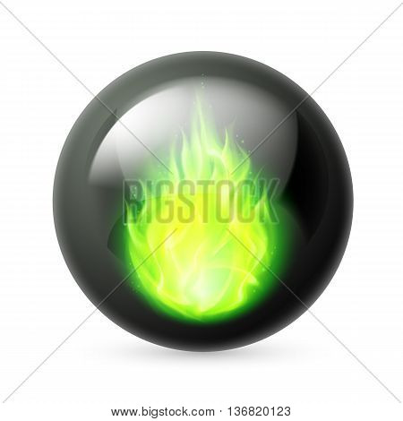 Black sphere with green fire flames inside on white
