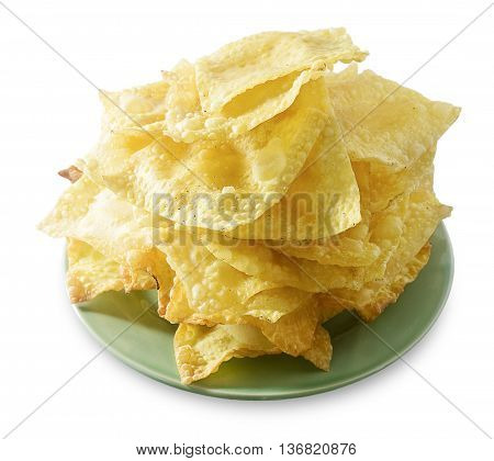 Asian Appetisers Delicious Deep Fried Wonton in A White Dish Isolated on White Background.