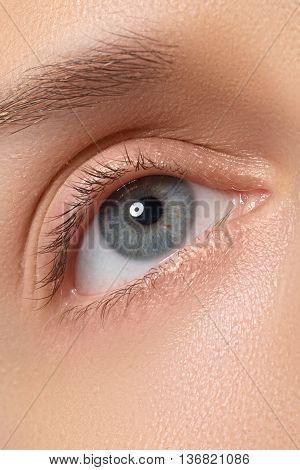 Female Eye With Long Eyelashes Close-up. Blue Eye