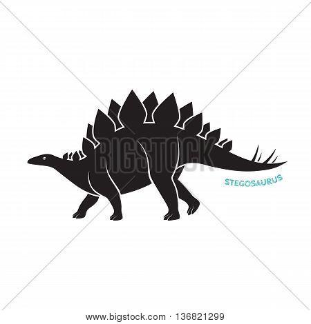 Stegosaurus silhouette icon emblem on white backgound. Vector illustration.