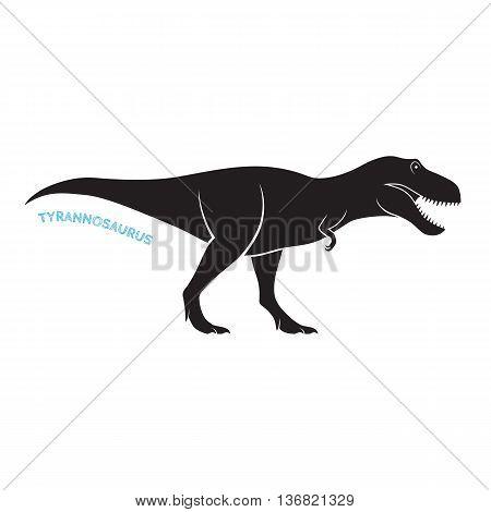 Tyrannosaurus silhouette icon emblem on white background. T-rex vector illustration.