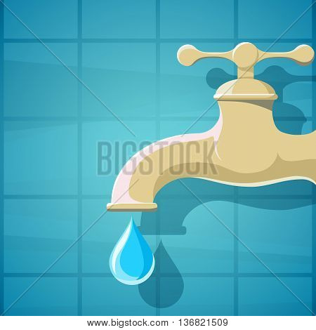 Water faucet with a drop of clean water. Stock Vector cartoon illustration.