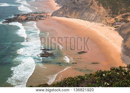 Sandy Castelejo beach famous place for surfing Algarve region Portugal