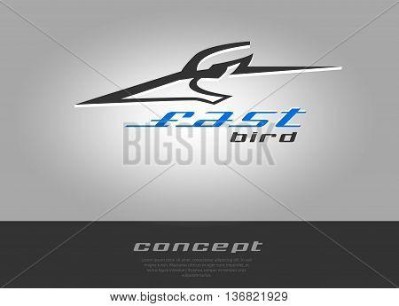 Bird head rapid moving and speed. Vector beak pecker logo sport theme.