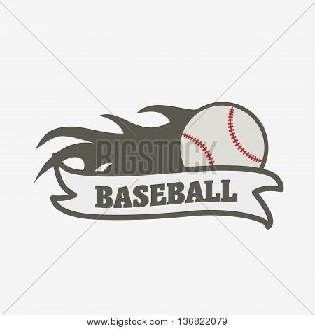 Baseball Logo, Badge Or Label Design Template. Baseball Ball With Fire Flame