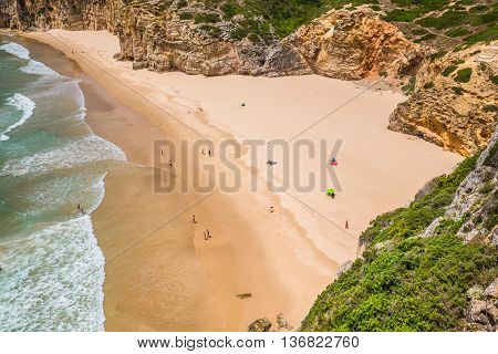 Beautiful bay and sandy beach of Praia do Beliche near Cabo Sao Vicente Algarve region Portugal