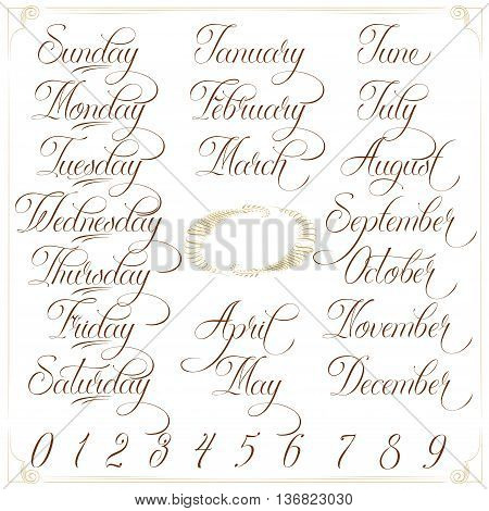 Hand drawn vector calligraphy tattoo style alphabet