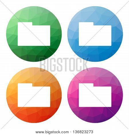 Set  Of 4 Isolated Modern Low Polygonal Buttons - Icons - For Folder (directory)