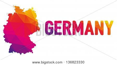 Low Polygonal Map Of Germany In Warm Colors, Mosaic Abstract Geometry Cartography