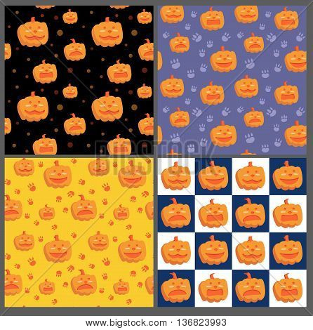 A set of four Halloween patterns. One pattern is with Halloween pumpkins and polka dot on black background . Other is with blue and white checkerboard, with pumpkins. Two others are with animal footprints and festive pumpkins.