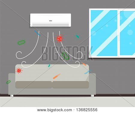 If a long time to clean the filters in the air conditioner it is presented mold and fungus. Vector illustration