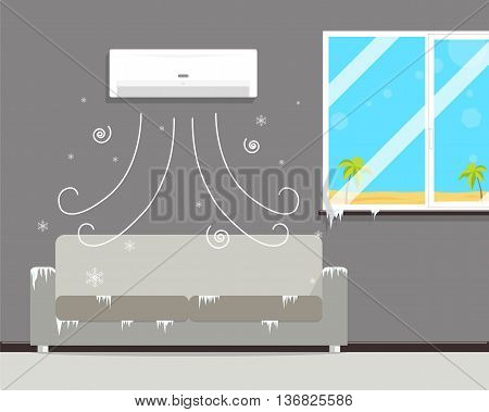 Air conditioning in the room creates a winter though outside the summer. Vector illustration