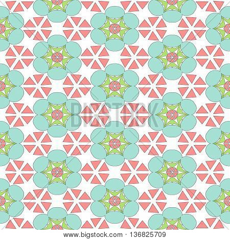 Colorful Seamless Repeating Floral Pattern Flowers Stars and Triangles Funky Re-Color Vector Pattern Background Motif