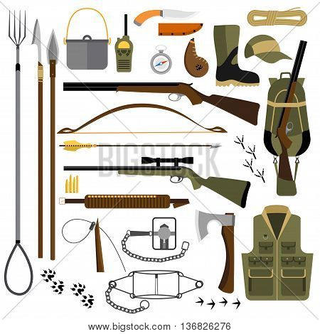Vector flat illustration of hunting fishing gear, traps and weapons, hiking and survival equipment