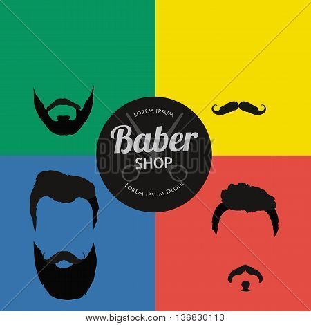 Mans trendy haircut types for barber shop. Isolated collection of mans beards design, haircut of head heir and mustaches.Hipster hair and beards, fashion vector illustration set. poster