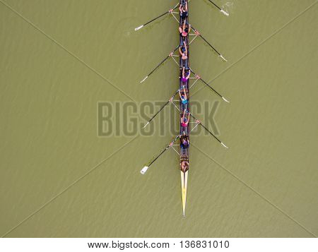 Eight Rowing Team Boat Aerial View
