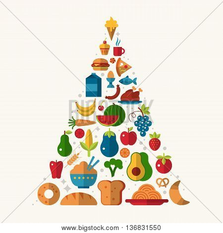 Food pyramid with flat icons of vegetables and fruits