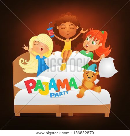 Illustration of three girls having pajama slumber party. Vector illustration