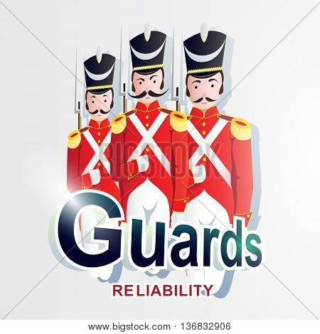 Creative vector illustration of logo or emblem depicting three Guardsmen of the 19th century soldiers in red uniforms and shako with guns symbolize protection. Inscriptions: