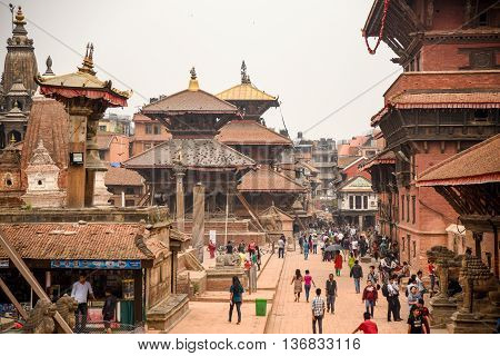KATHMANDU NEPAL - APRIL 17 2016 : Patan Durbar Square after the earthquake on 25 April 2015. One of the three Durbar Squares in the Kathmandu Valley and listed by UNESCO World Heritage Sites.