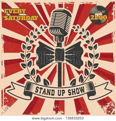Retro stand up comedy show vintage poster template. Design element for poster flyer emblem sign. Vector illustration.