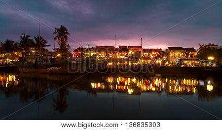 Hoi An harbour during after sunset, Vietnam.
