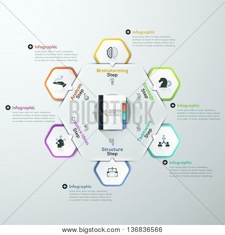 Vector Infographic report template made from paper rectangles, flat book and icons. Can be used for web design, brochure, presentations and workflow layout