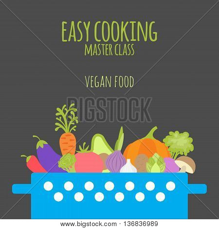 Easy cooking master class. Vegan food. Casserole with vegetables on dark background. Hand drawn vegetables in flat style. Cooking collection