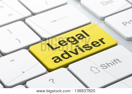 Law concept: computer keyboard with word Legal Adviser, selected focus on enter button background, 3D rendering