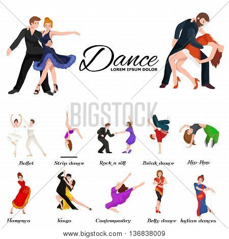 Dancing People, Dancer Bachata, Hiphop, Salsa, Indian, Ballet, Strip, Rock and Roll, Break, Flamenco, Tango, Contemporary, Belly Dance Pictogram Icon Dancing style of design concept set vector illustration set