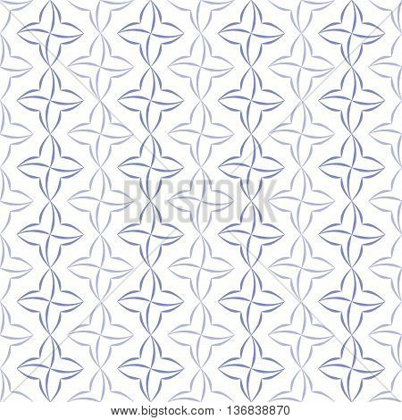 Pattern of violet stylized four-petal flowers set in verticall stripes on white background. Seamless repeat.