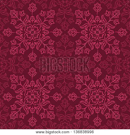 Traditional Indian pattern with round floral elements in shades of purple. Seamless repeat.