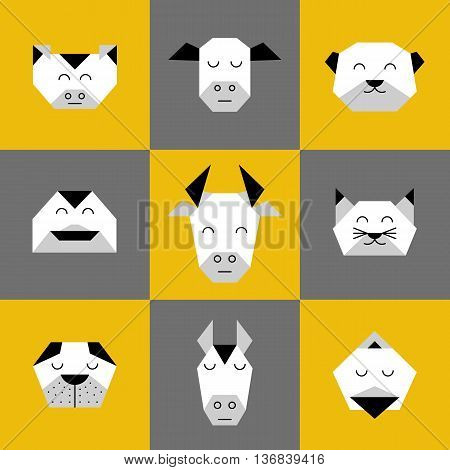 Stylized vector animals. Animal triangle heads. Vector origami animals. Geometric line design icon set. Vector origami animals for tattoo or coloring book. Vector origami farm animals collection.