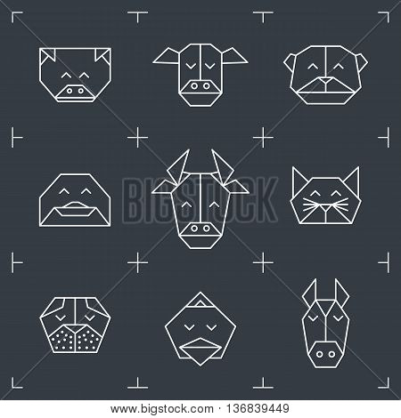 Vector animal heads. Animal triangle icons. Vector polygonal animals. Geometric line design icons. Vector polygonal animals for tattoo. Farm animals collection.