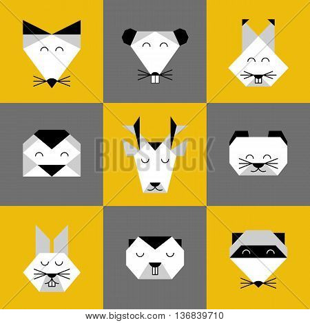 Stylized vector animals. Animal triangle heads. Vector origami animals. Geometric line design icon set. Vector origami animals for tattoo or coloring book. Vector origami forest animals collection.