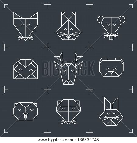Front view animal heads. Animal triangle icons. Vector polygonal animals. Geometric line design icons. Vector polygonal animals for tattoo. Forest animals collection.