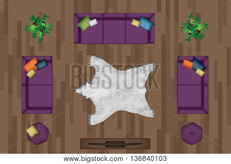 Sofas Armchair Set. Furniture, Pouf, Carpet, TV, Plants, Side Table for Your Interior Design. Flat Vector Illustration. Top View. Scene Creator. Purple color Lounge with Pillows. White Bear Pelt 3