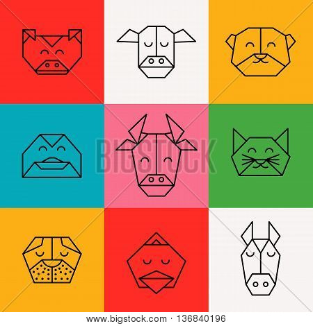 Stylized front view animal heads. Animal triangle icon set. Vector polygonal animals. Geometric line design icon set. Vector polygonal animals for tattoo or coloring book. Farm animals collection.