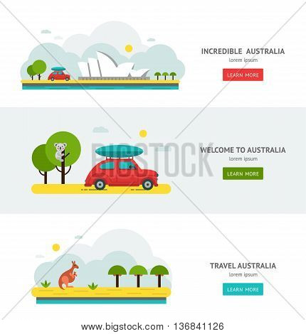 Australia road trip flat design web banners. Welcome to car travel. Incredible Australian nature, architecture Australias National symbols. Koala, kangaroo, Sydney opera. Vector illustration.