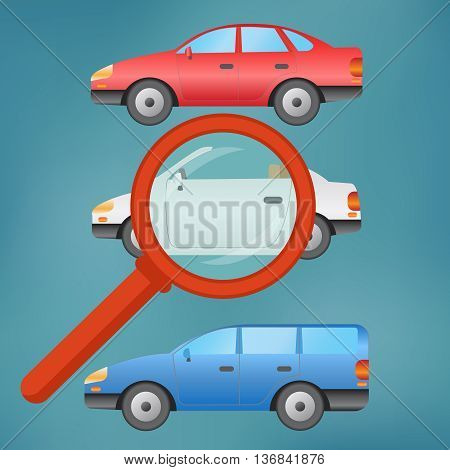 A magnifying glass finds, selects or inspects a car in a row of autos.
