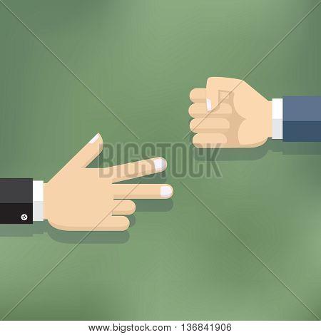 Hands playing paper rock scissors game. Flat design illustration.
