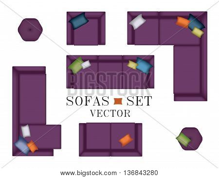 Sofas Armchair Set. Top view. Furniture, Pouf, Pillows for Your Interior Design. Flat Vector Illustration. Scene Creator. Purple Color 3