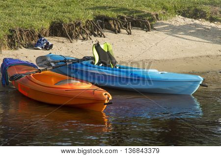 Kayaks prepared for an afternoon trip along a river in Myrtle Beach South Carolina