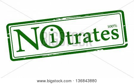 green stamp with the text No Nitrates isolated on white. vector illustration