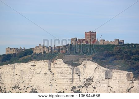 Dover Castle on top of the White Cliffs
